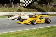 Arrows A1B (Keegan) & Lotus 78 (Vilotta) Brands 1979 Aurora AFX F1 action photo